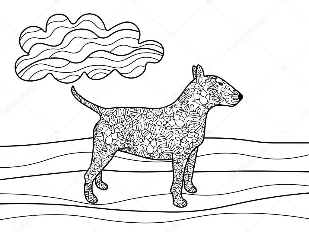 Kleurplaten Voor Volwassenen Honden.Bullterrier Hond Kleurplaten Boek Voor Volwassenen Vector