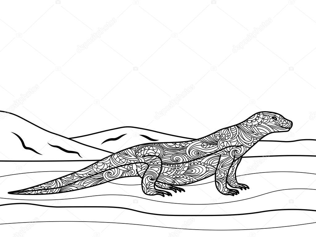 Seguimiento de lagarto para colorear libro de vectores adultos ...