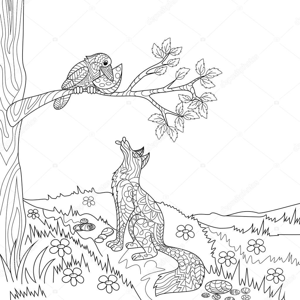 Conto de fadas de raposa e corvo vetor de livro de colorir vetores de stock alexanderpokusay - Dessin corbeau facile ...