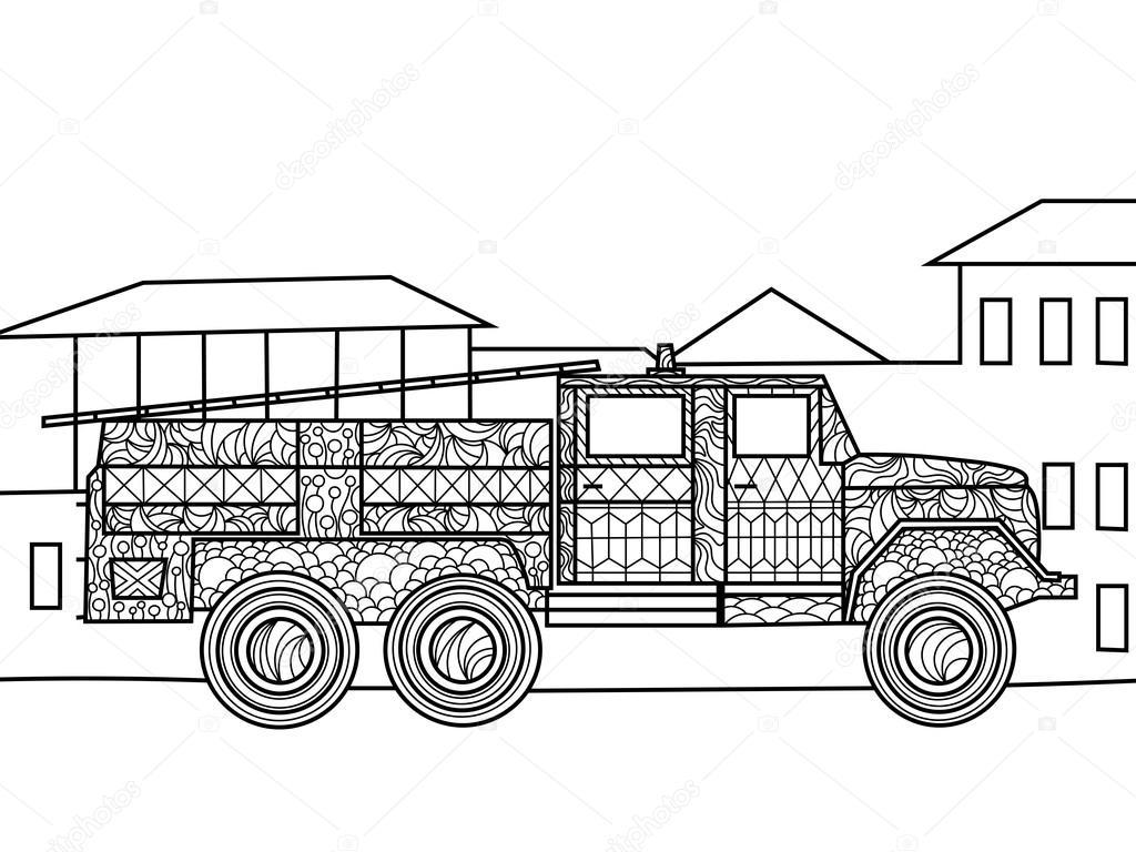 Incendio camión para colorear libro de vectores adultos — Vector de ...