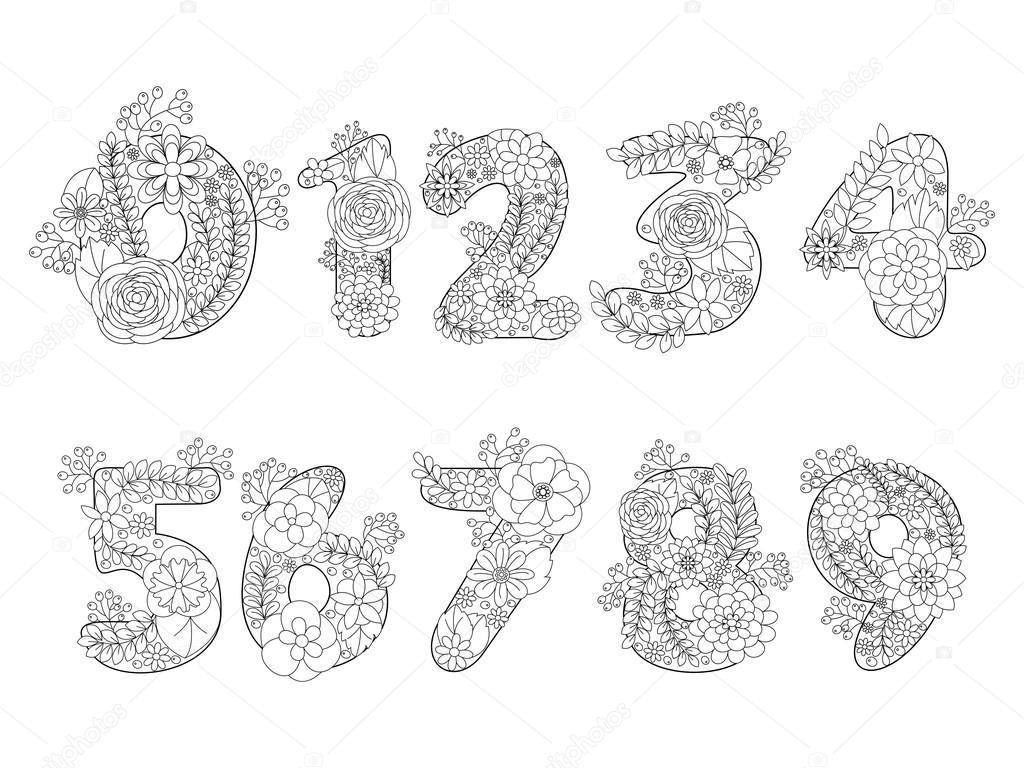 Sayılar Boyama Kitabı Yetişkin Vektör Için Stok Vektör