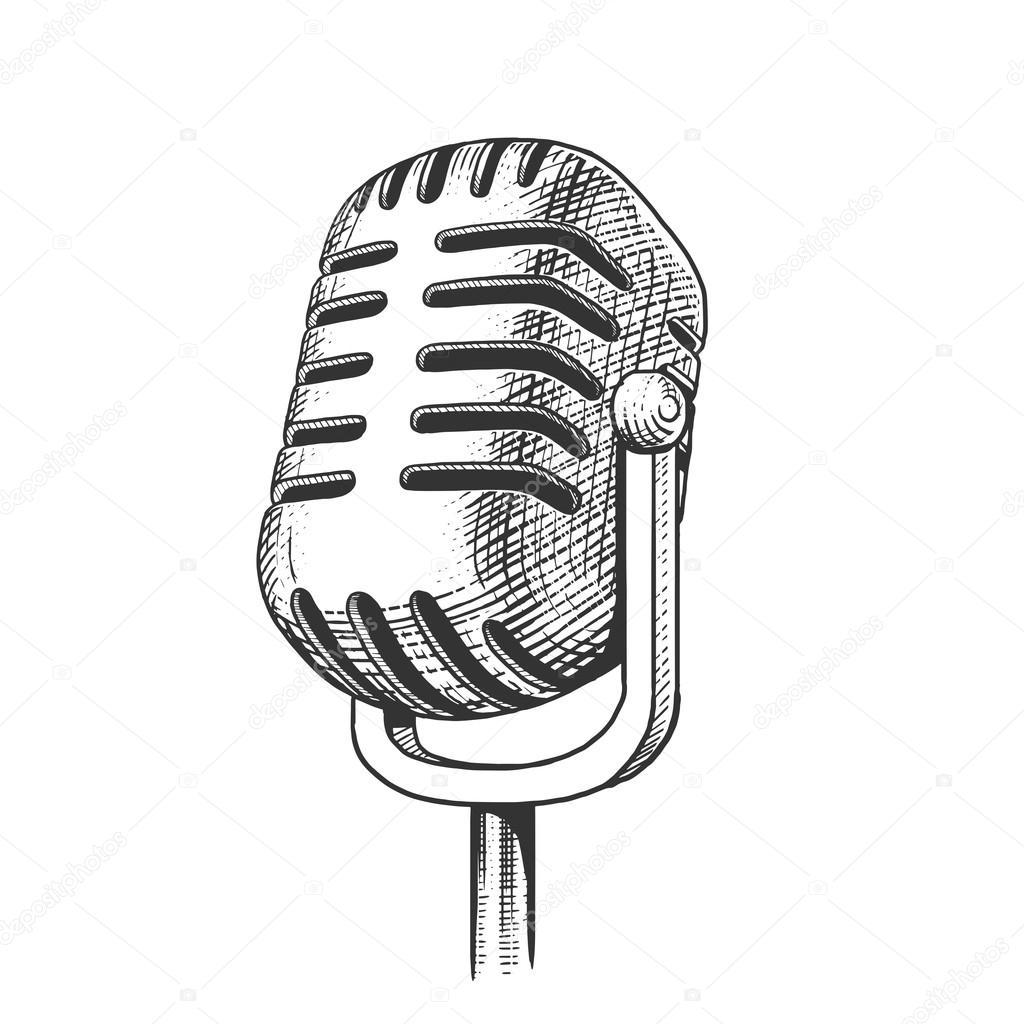 Dibujos Microfonos Dibujados Vector De Grabado Dibujado