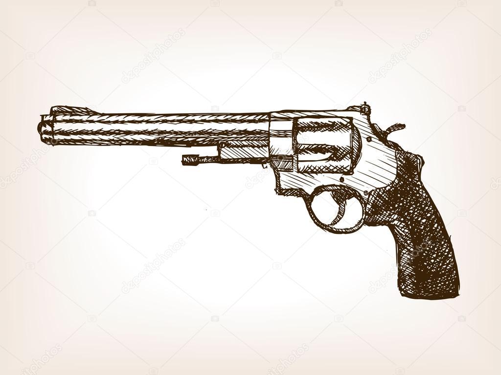 Imágenes Pistola Dibujo A Lapiz Ilustración De Vector De Revólver