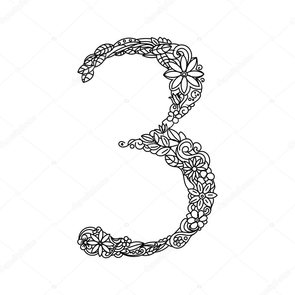 Yetişkin Vektör Sayısı 3 Boyama Kitabı Stok Vektör
