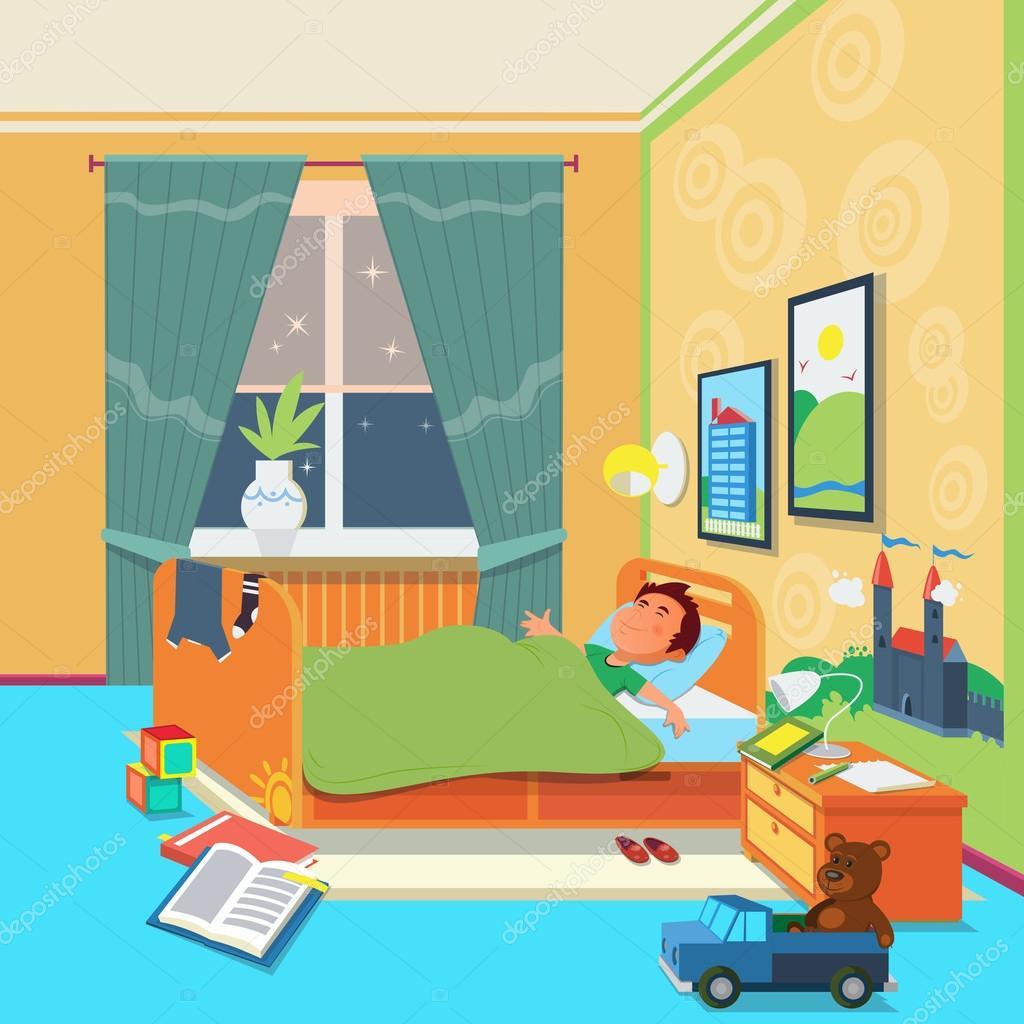 Sue o de ni o en la ilustraci n de vector de habitaci n de for Dormitorio animado