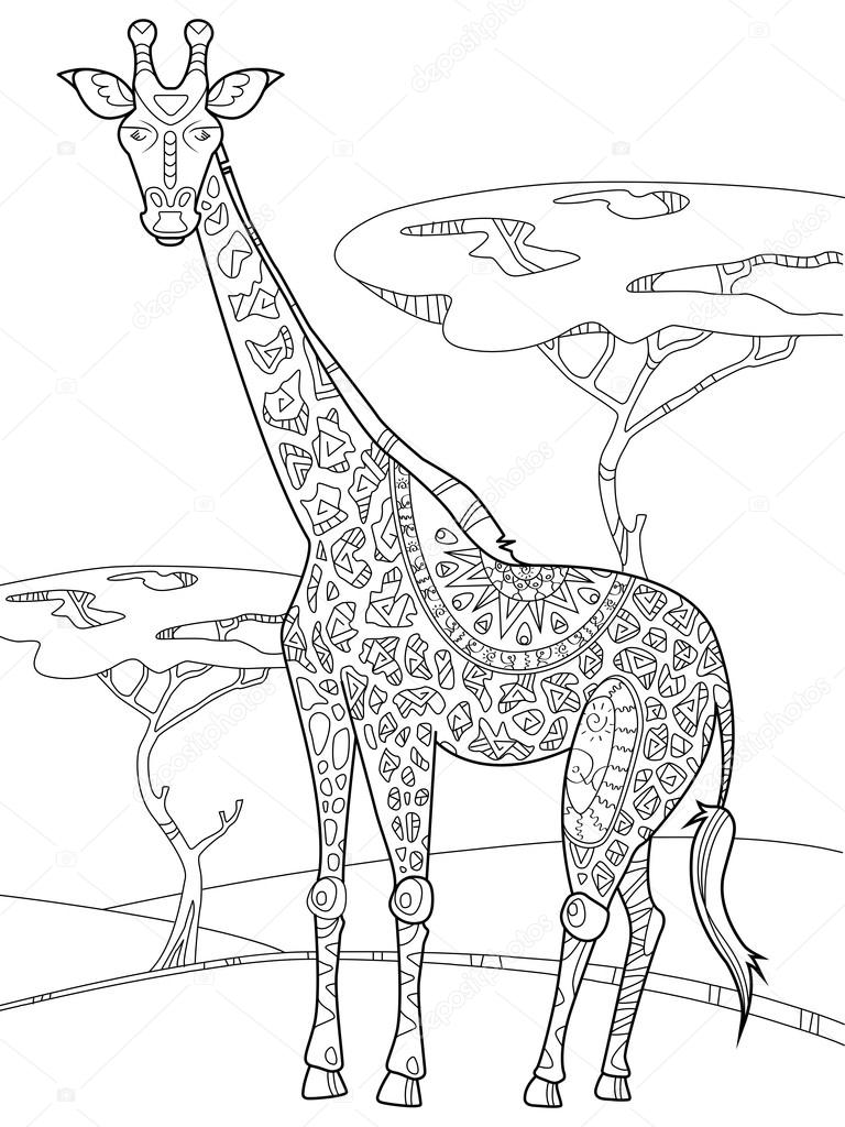 Boyama Kitabı Için Yetişkin Vektör Zürafa Stok Vektör