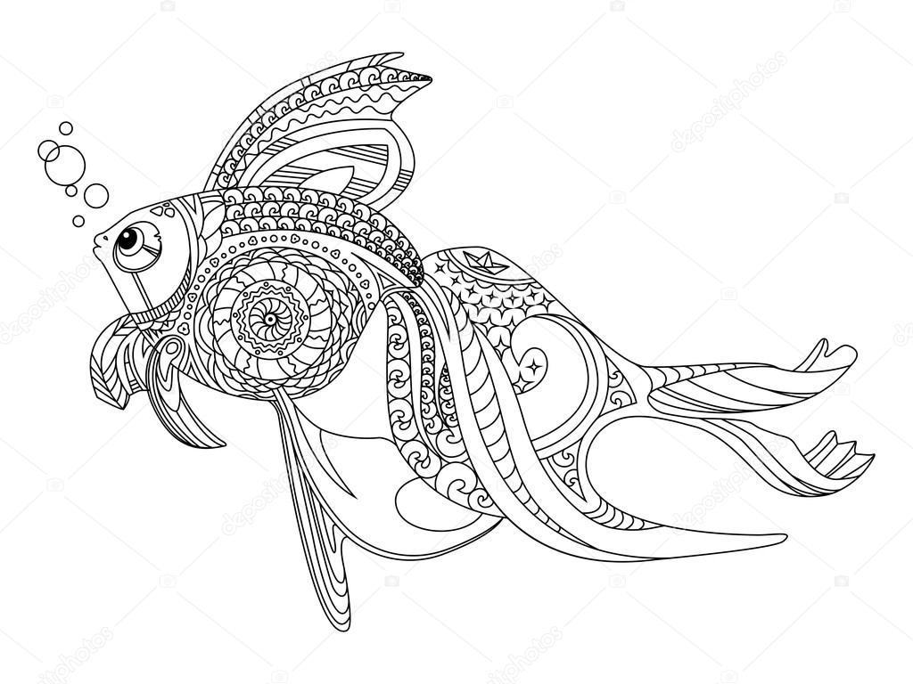 大人のベクトルのための金の魚塗り絵 ストックベクター