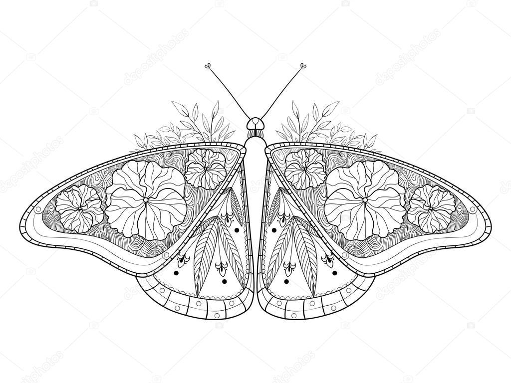 Mariposa para colorear libro de vectores adultos — Archivo Imágenes ...