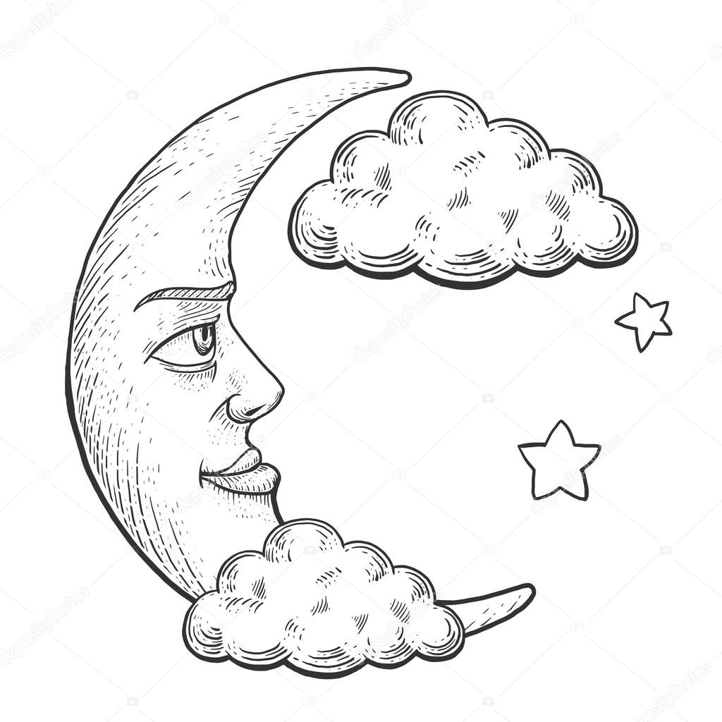 Moon With Face In Clouds Engraving Vector Illustration Scratch Board Style Imitation Hand Drawn Image By AlexanderPokusay