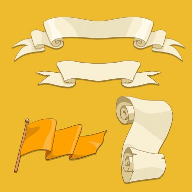 Old scroll flag and ribbon vector illustration
