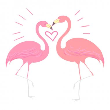 Flamingo bird with heart vector illustration