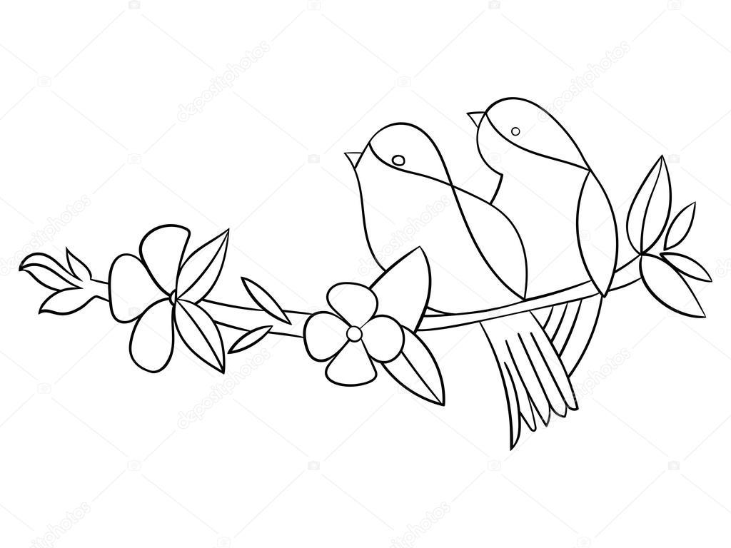 Dövme Kalıp Kuş çiçek Vektör çizim Stok Vektör Alexanderpokusay