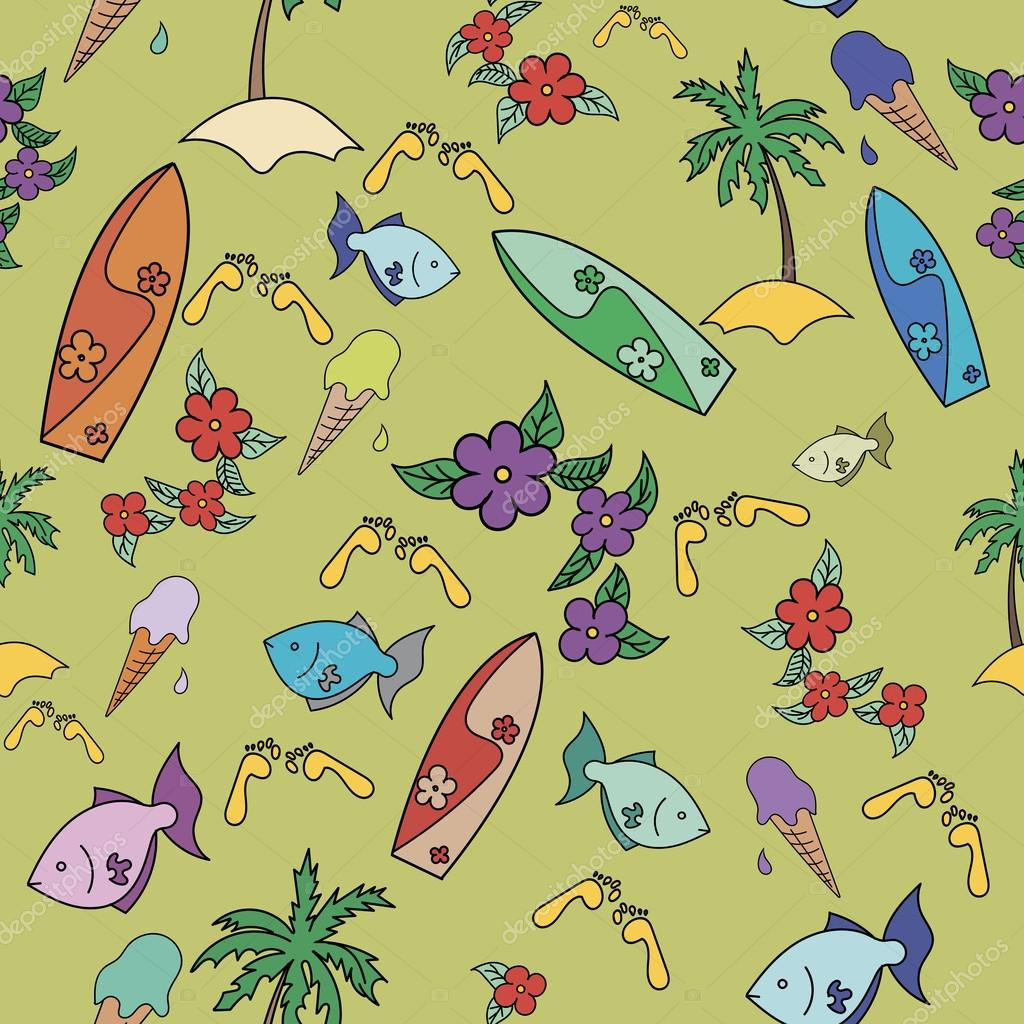 Hawaii cocktail seamless pattern green color