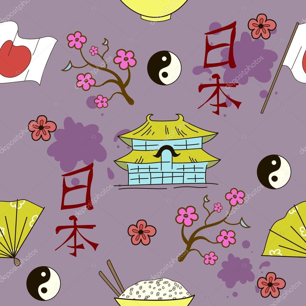 Seamless Japanese symbols pattern