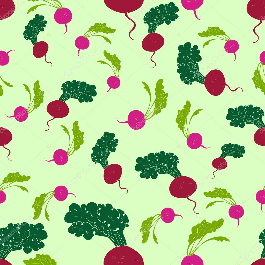 Seamless pattern radish and beet vector