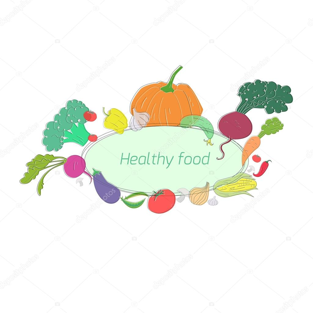 Green vegetables healthy food text