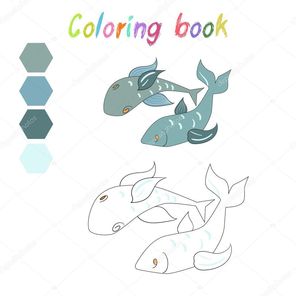 Kitap Balık Boyama Oyunu Için Düzen çocuklar Stok Vektör