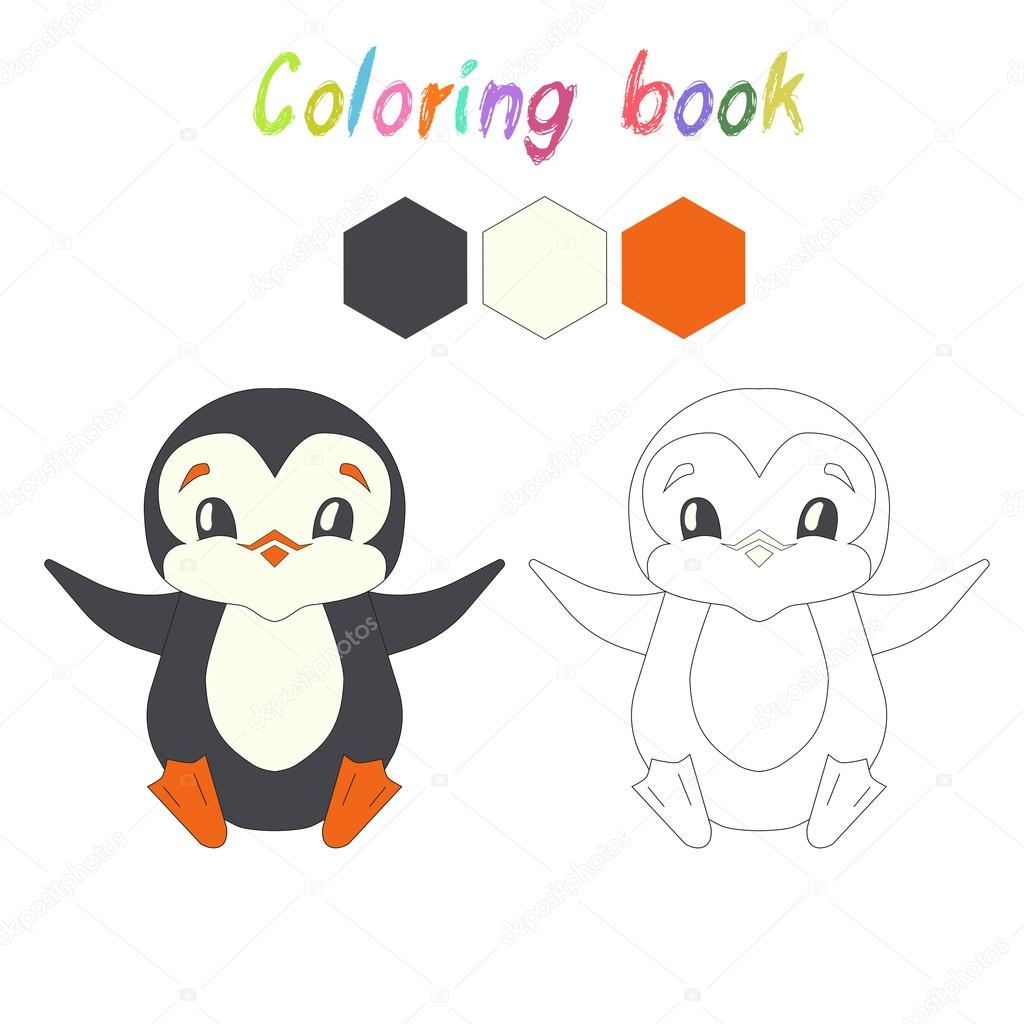Coloring Book Penguin Kids Layout For Game Stock Vector