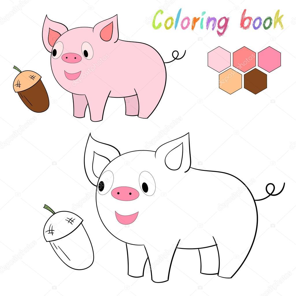 Layout für Spiel Kinder Buch Schwein Färbung — Stockvektor ...