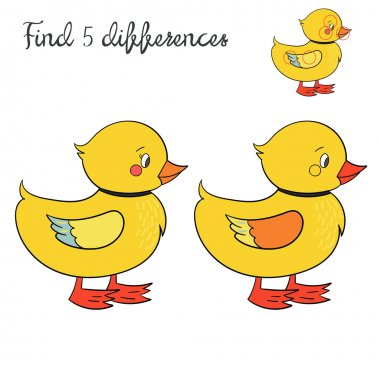 Find differences kids layout for game duck
