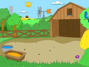 Cartoon farm color book children vector