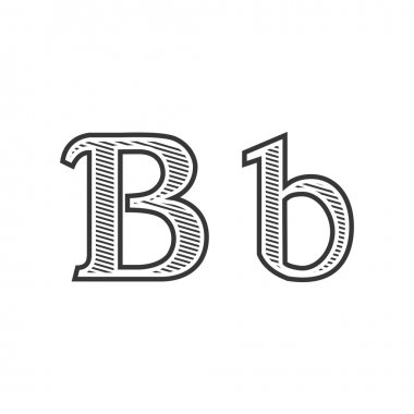 Font tattoo engraving letter B with shading