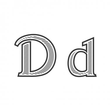 Font tattoo engraving letter D with shading