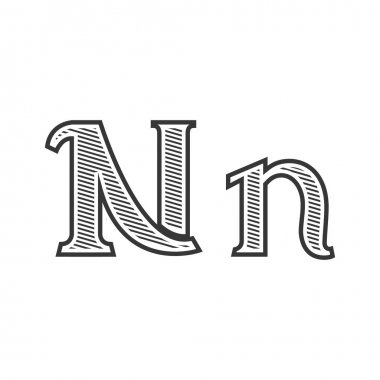 Font tattoo engraving letter N with shading