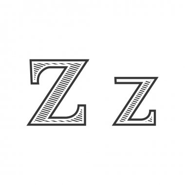 Font tattoo engraving letter Z with shading