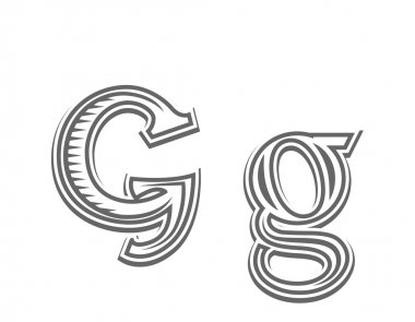 Font tattoo engraving letter G