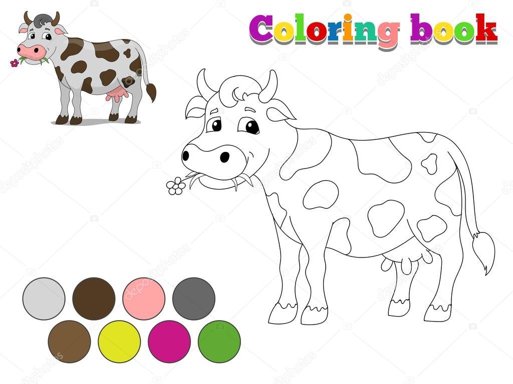 Colorear libro vaca niños diseño para juego — Archivo Imágenes ...