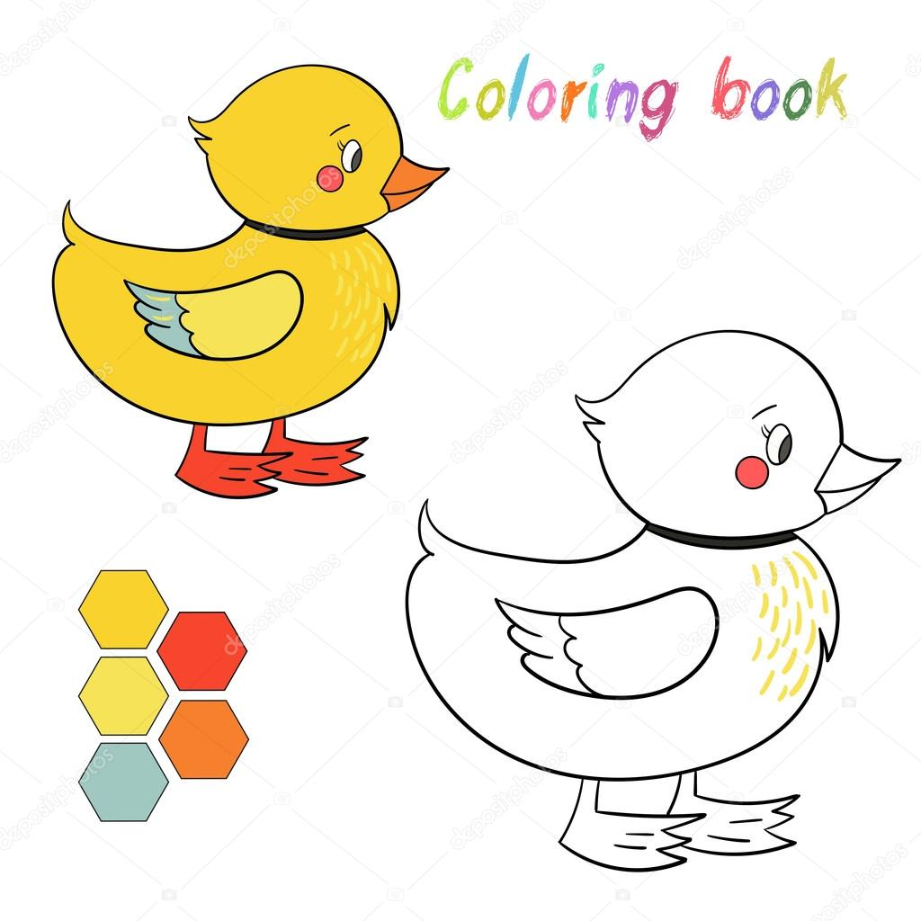 Kitap ördek Boyama Oyunu Için Düzen çocuklar Stok Vektör