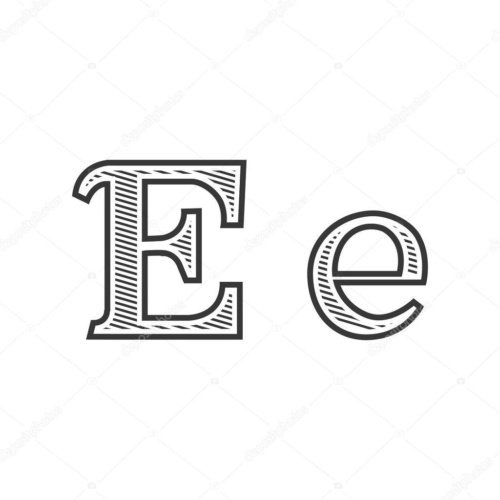Letra E Sombreada Letra De Letra Del Tatuaje Grabado E Con