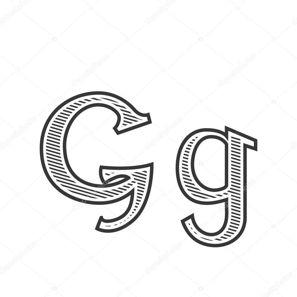 Lettre De Polices Tatouage Gravure G Avec Ombrage Image