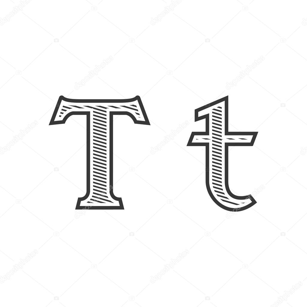 font tattoo engraving letter t with shading stock vector