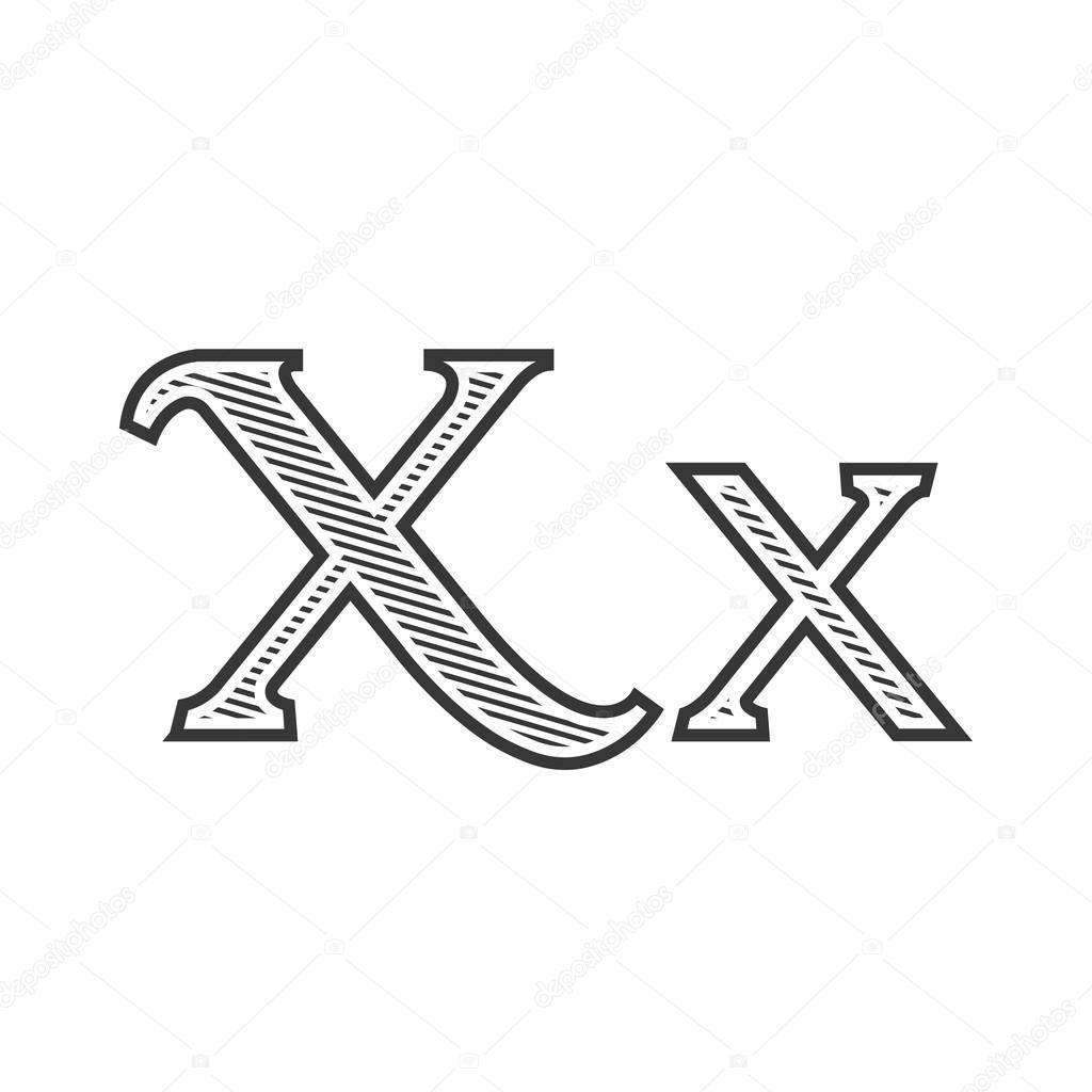 Letra De Letra Del Tatuaje Grabado X Con Sombreado Vector De Stock