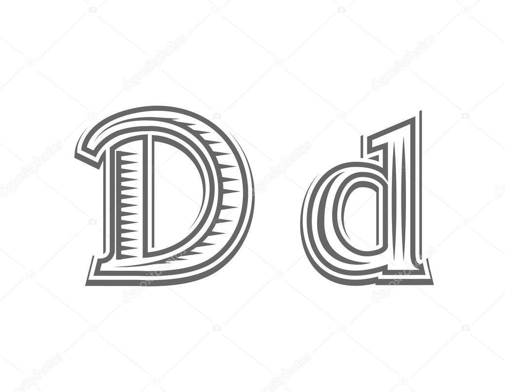 Czcionka Tatuaż Grawerowanie Litera D Grafika Wektorowa