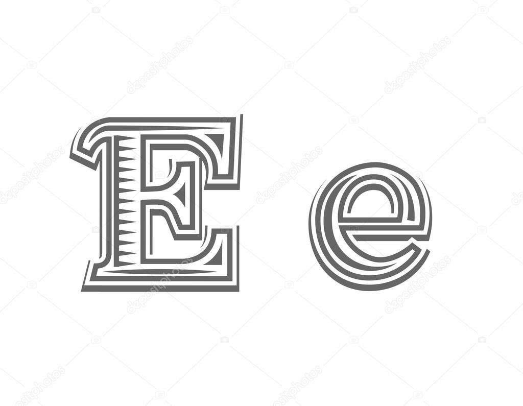 Lettre De Gravure Tatouage Police E Image Vectorielle