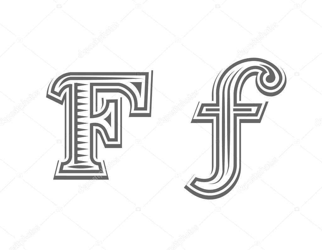 Czcionka Tatuaż Grawerowanie Litera F Grafika Wektorowa