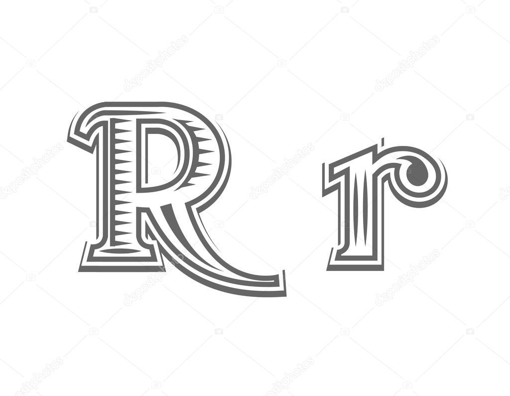 Czcionka Tatuaż Grawerowanie Litera R Grafika Wektorowa