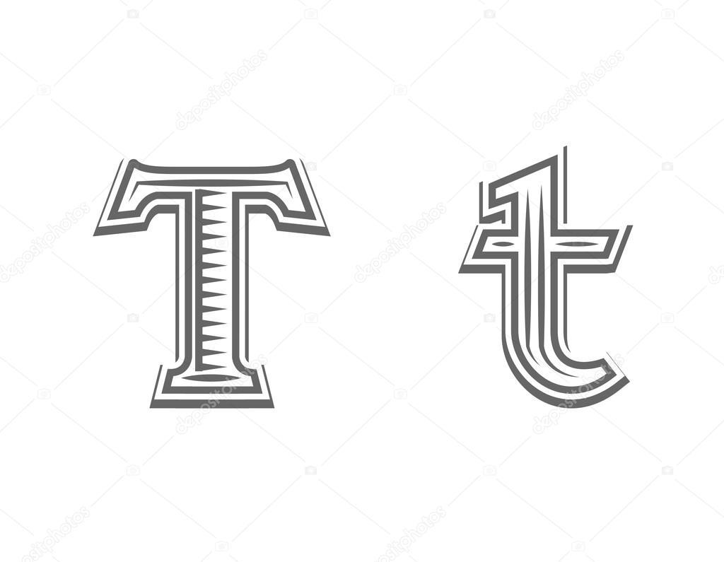 Czcionka Tatuaż Grawerowanie Litera T Grafika Wektorowa