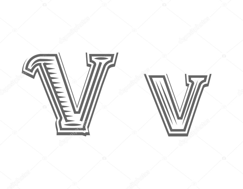 Letra De Letra Del Tatuaje Grabado En V Vector De Stock