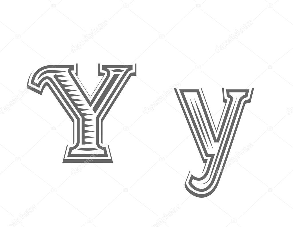 Czcionka Tatuaż Grawerowanie Litera Y Grafika Wektorowa