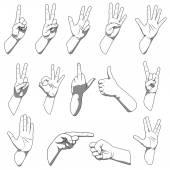 Verschiedene Hände Gesten