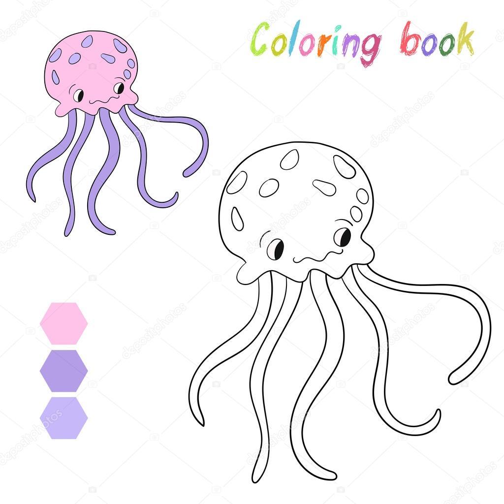 Boyama Kitabı Denizanası çocuklar Düzen Oyun Için Stok Vektör