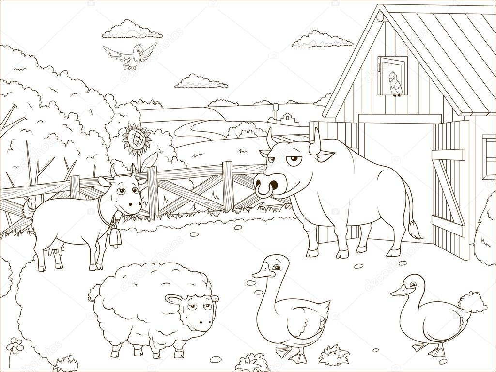Para colorear dibujos de granja de libro educativo — Vector de stock ...