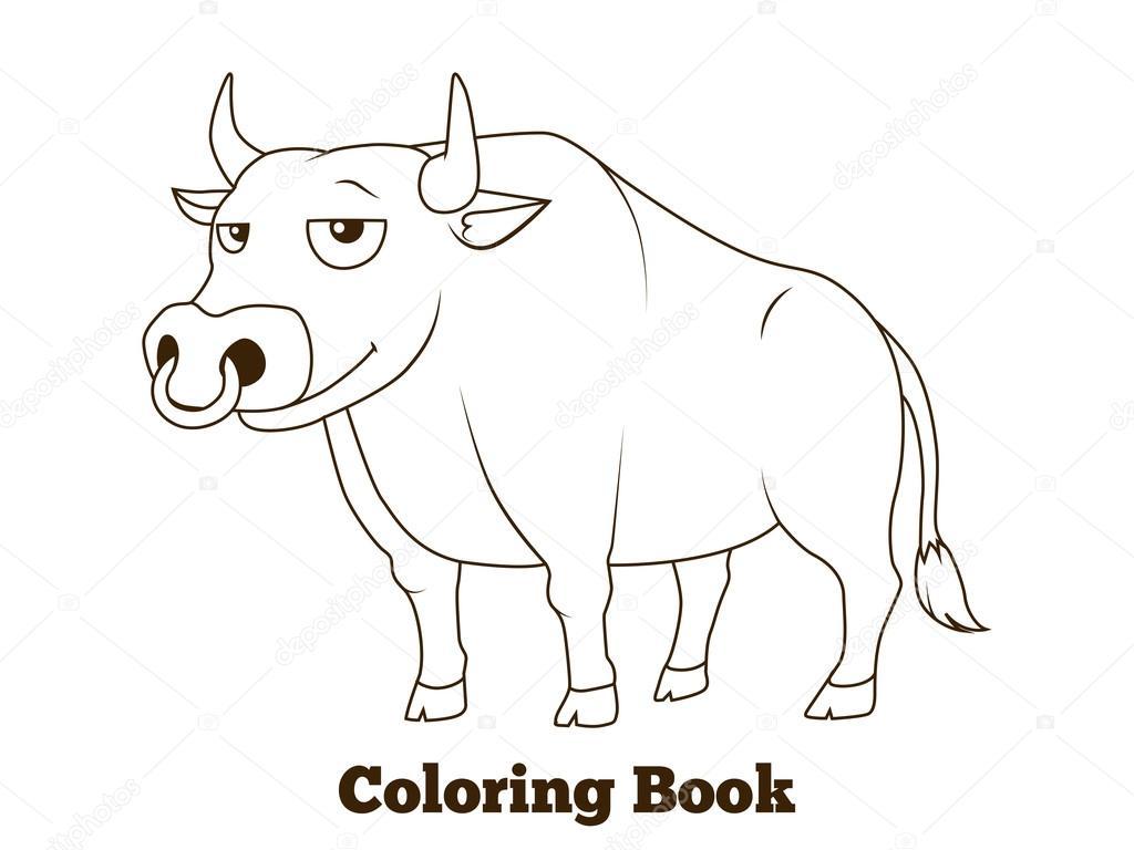 Boyama Kitabı Boğa Karikatür Eğitim Stok Vektör Alexanderpokusay