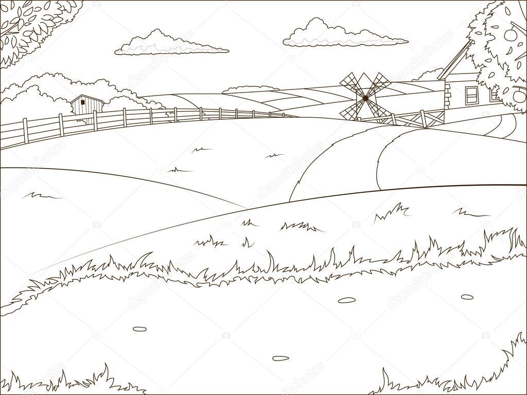 Para colorear dibujos de granja de libro educativo — Archivo ...