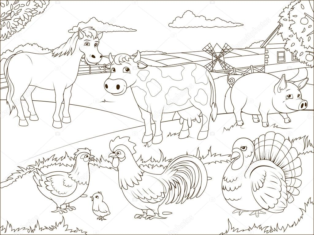 Para colorear dibujos de granja de libro educativo — Vector de stock ...