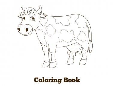 Coloring book cow cartoon educational illustration
